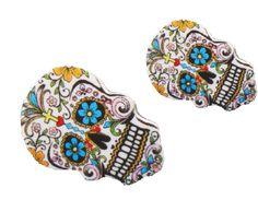 Sugar Skull Day of the Dead Tattoo Stud Earrings