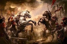 Richard the Lionheart And Saladin Face Off Knight On Horse, Knight Art, Vikings, Medieval Knight, Medieval Fantasy, Fantasy Battle, Fantasy Art, Knight Tattoo, Crusader Knight
