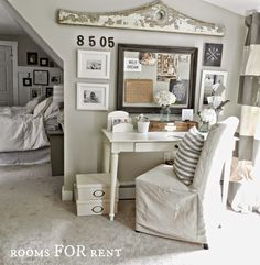 Style House-Rooms For Rent - City Farmhouse This is what I have been looking for and I love that the walls are covered in art, pictures, and this and that. Bedroom Office, Office Decor, Home Office, Master Bedroom, Family Office, Office Ideas, Office Furniture, Chairs For Rent, Rooms For Rent