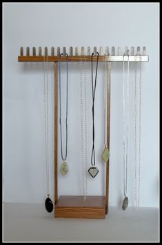 Wood Long Chain Necklace Display Tall by krjewelrydisplays