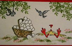 Fainted-Chicken . Basket of eggs, birds from the left & right, flowers leaves grass &  Words sold separately. They are Made by Art Impressions. Can be purchased in my ebay Store Pat's Rubber Stamps & Scrapbooks, click on the picture to see it, or call me 423-357-4334 with order, or come by 1327 Glenmar Ave. Mt Carmel, TN 37645, Pat's Rubber Stamps & Scrapbook supplies 423-357-4334. We take PayPal. You get free shipping with the phone orders of $30.00 or more. Use my search engine to find the…