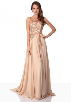 Chiffon-Abendkleid in Beige Chiffon Kleid Lang, Kleid Beige, Kleider Für  Festliche Anlässe b31961a33a