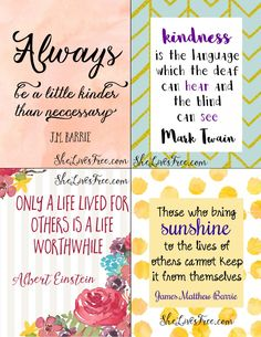 Free Printable Quotes to Inspire Kindness: Use as lunchbox love notes or encourage a friend, spouse, or stranger with these uplifting & encouraging notes.