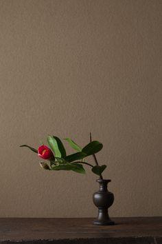 2012年3月21日(水)春のほうへ手を差しのべています。 花=藪椿(ヤブツバキ) 器=古銅亜字形華瓶(鎌倉時代)