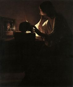 The Repentant Magdalene - Georges De La Tour-One of the four versions, in Washington