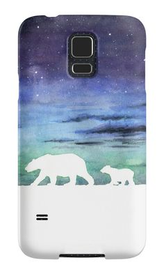 """Aurora borealis and polar bears (light version)"" Samsung Galaxy Cases & Skins by Savousepate on Redbubble #galaxycase #phonecase #galaxyskin #phoneskin #watercolorpainting #blue #purple #green #black #white"