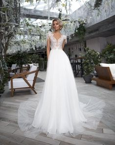 boho ivory wedding dress bohemian sleeves lace train embroidered tulle skirt gown wedding dress e Formal Dresses For Weddings, Bohemian Wedding Dresses, Wedding Dress Sleeves, Modest Wedding Dresses, Elegant Wedding Dress, Elegant Dresses, Bridal Dresses, Ivory Wedding, Gown Wedding
