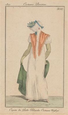 Bonnet, shawl and pelerine all very pretty. 1807 Costume Parisien