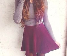 Grey sweater and maroon high waisted skirt<< this would be so cute cause the maroon!
