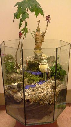 Gammalt akvarie -hemvisst till en älva