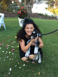 Suzanne Riley marriage Celebrant with little Leo the wonder dog .. ring bearer at Twin Waters Resort on the Sunshine Coast Queensland
