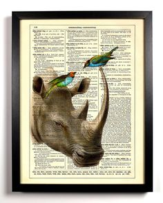 Rhino and Little Birds Repurposed Book Upcycled Dictionary Art Vintage Book Print Recycled Vintage Dictionary Page Buy 2 Get 1 FREE. $6.99, via Etsy.