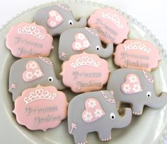 Pretty elephant cookies by miss biscuit baby shower desserts, baby shower cupcakes, torta baby Baby Cookies, Baby Shower Cupcakes, Baby Shower Fun, Baby Shower Gender Reveal, Shower Cakes, Baby Shower Parties, Baby Boy Shower, Biscuit Cookies, Sugar Cookies