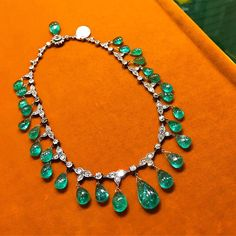 Magnificent Antique Emerald Drops & Diamonds Necklace, on hold at Eleuteri New York. #MagnificentJewels #AntiqueJewels #Eleuteri #EleuteriNYC