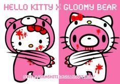 Hello Kitty meets Gloomy bear :D Now if she'd just meet a smorkin labbit!
