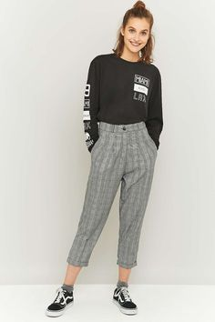Urban Renewal Vintage Remnants Grey Checked Trousers