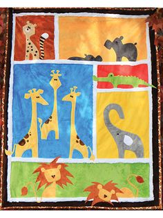 Oh-so-cute pattern that will make you squeal with delight! This precious pattern makes the absolutely perfect gift for any expectant parents and their soon-to-be-born baby! Fun and easy to make, this pattern has 6 block backgrounds and appliques for 10 delightful safari animals, includes a cheetah, 2 hippos, 3 giraffes, an alligator, an elephant and 2 lions. Pattern includes instructions for assembly and attaching the appliques, as well as full-size tracing guides for each applique. ...