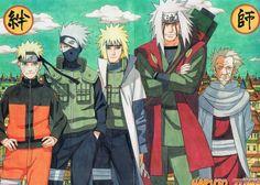 Kakashi Minato Jiraya Hiruzen Naruto - ( 34 x 22 inch ) Glossy Poster Naruto Kakashi, Anime Naruto, Naruto Shippuden, Boruto, Anime Echii, Naruto Teams, Sarada Uchiha, Gaara, Hinata