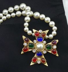 Rare CHANEL Pearls & Vintage 70s Chanel Gripoix Glass Maltese Cross Necklace #Chanel #Statement