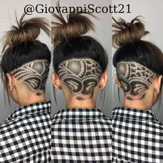 So this is a picture of my video post from yesterday. Just wanted to show the undercut better. Tell me what you think! To schedule an… Shaved Undercut, Shaved Nape, Undercut Hairstyles Women, Cool Hairstyles, Wild Hairstyles, Hairdos, Hair Tattoo Designs, Undercut Hair Designs, Shaved Hair Designs