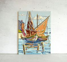 Vintage paint by number nautical painting featuring sailboats in the harbor. Wonderful craftsmanship.