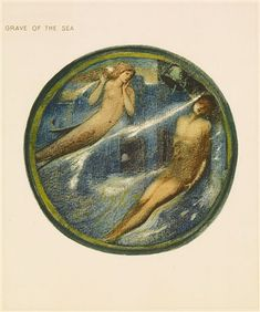 'The Grave of the Sea' by Edward Burne-Jones. A page from the facsimile edition of Burne-Jones' Flower Book, one of 38 watercolour designs reproduced by Henri Piazza et Cie, for the Fine Art Society, London in 1905.  Wikimedia