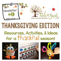 Welcome to the Thanksgiving Edition Newsletter! In this newsletter you will find Thanksgiving, Fall, and Football activities, resources, tips, and Freebies! - repinned by @PediaStaff – Please Visit  ht.ly/63sNt for all our ped therapy, school & special ed pins