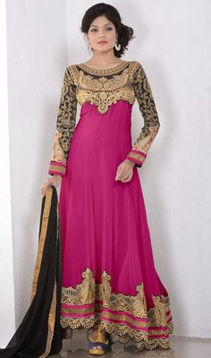 Make a strong fashion statement by wearing this pink embroidered georgette long Anarkali churidar dress. This enticing attire is showing some incredible embroidery done with butta, lace, resham and stones work. #NewEmbroidredEveningWear