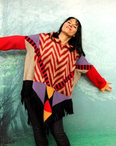 Fall colors sweater poncho with hood. Made from recycled clothing and new fabrics. Soft in touch. Very comfortable. Ethno tribal hippie boho style.
