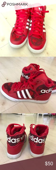 Adidas 2017 red floral high top Red and black floral print.  White stripe.  Super comfortable! adidas Shoes Athletic Shoes