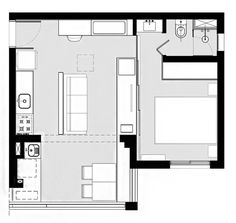 Gallery of House Plans Under 50 Square Meters: 26 More Helpful Examples of Small-Scale Living - 35 Square House Plans, Small House Plans, House Floor Plans, Bungalow House Design, Small House Design, Nook Architects, One Bedroom House Plans, Log Cabin Plans, Apartment Floor Plans