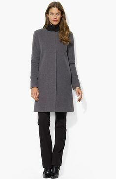 Lauren Ralph Lauren Collarless Wool Blend Coat (Online Only) available at #Nordstrom