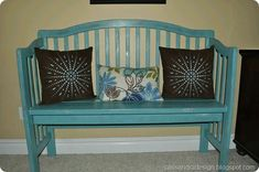 """Made from a baby bed! I think an outdoor bench with foam padding or """"…"""" - Baby Cribs DIY Old Baby Cribs, Baby Crib Diy, Old Cribs, Baby Bedding, Furniture Projects, Furniture Makeover, Diy Furniture, Repurposed Furniture, Painted Furniture"""