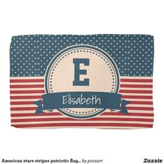American stars stripes patriotic flag monogram kitchen towel