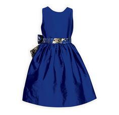Royal Blue Shimmer Party Dress A beautiful yet simple rich cobalt blue waisted style dress in soft poly taffeta. Lined bodice dips to a V in back. Removable wide sash in hues of gli Girls Special Occasion Dresses, Holiday Outfits, Cobalt Blue, Sash, Doll Clothes, Bodice, Dips, Party Dress, Fashion Dresses