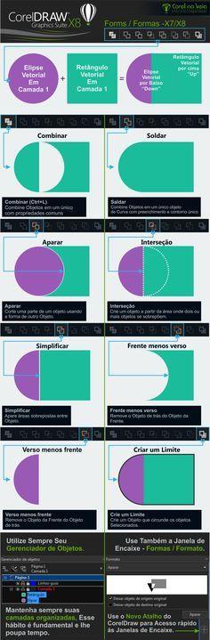 CorelDRAW X8 - Formas / Formatos. Combinar - Soldar - Aparar- Interseção - Simplificar - Frente menos Verso - Verso Menos Frente - Criar limite.  By: @corelnaveia