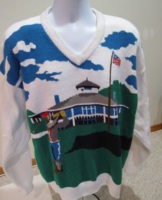 Izod Ugly Golf Sweater L Country Club Golfer Party Christmas White Unique Cotton Sweater, Ugly Sweater, Men Sweater, Golf Sweaters, Christmas Sweaters, V Neck, Club, Country, Unique