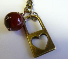 Bronze Locked Heart Pendant with Carnelian bead by ArtBoxCreations, $12.00