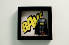 Retro Batman Comic Shadowbox Frame- Original Art- 6 X 6