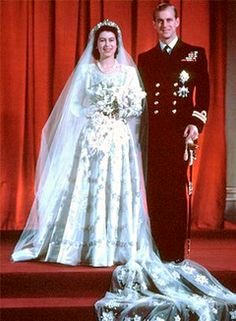 *PRINCESS ELIZABETH & PHILIP MOUNTABATTEN, DUKE of EDINBURGH ~ on their wedding day, November 20, 1947, 11:30 GMT.  Location:	Westminster Abbey, London, England.