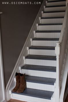 Osie Moats DIY,Lifestyle,Decorating blog.: DIY $50 STAIR MAKEOVER   REVEAL, add bead board and wide trim