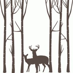 I think I'm in love with this shape from the Silhouette Design Store! - Deer Forest