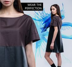 FINCH dress of glossy cotton and smooth synthetic leather. For more info follow this link in the pin description.