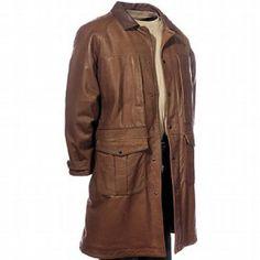 Handmade Men Brown Long Leather Coat - UK Merchant Only: € Mens Leather Coats, Long Leather Coat, Men's Leather Jacket, Lambskin Leather, Leather Jackets, Brown Leather, Jacket Men, Classic Leather, Cowhide Leather