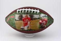 Customized football. Capture the smile and let us take care of the rest for you to make it into a beautiful, long lasting, unique gift for your favorite football player.