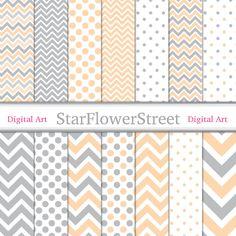 chevron digital paper polka dot banner paper pattern peach wedding shower paper scrapbook baby shower paper gray grey baby shower StarFlowerStreetDA on Etsy: (3.75 USD)