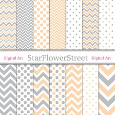 chevron digital paper polka dot banner paper pattern peach wedding shower paper scrapbook baby shower paper gray grey baby shower StarFlowerStreetDA on Etsy: (3.75 USD)