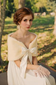 Aurora Fur Stole : Cream  //  $180  Winter Wedding ; Faux Fur Shawl
