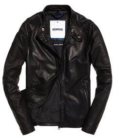 Superdry Ultra Lite Slim Leather Jacket Black