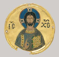 Medallion with Christ from an Icon Frame, ca. 1100. Byzantine; From the Djumati Monastery, Georgia (now Republic of Georgia); Made in Constantinople. Cloisonné enamel, gold.